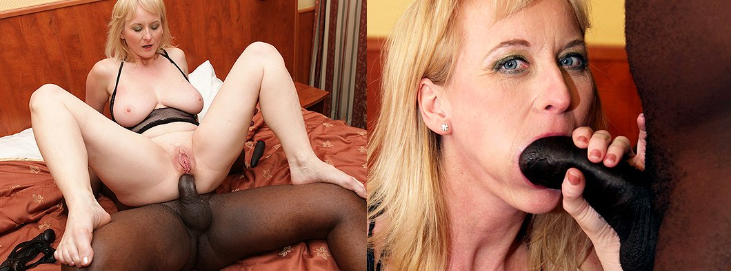 European mom rides her first big black cock